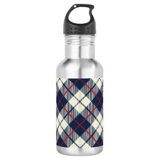 Navy Blue Plaid Pattern 532 Ml Water Bottle