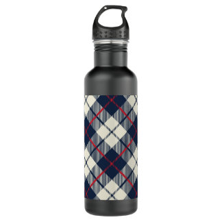 Navy Blue Plaid Pattern 710 Ml Water Bottle
