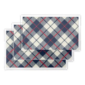 Navy Blue Plaid Pattern Acrylic Tray