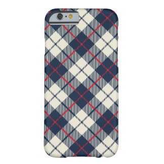 Navy Blue Plaid Pattern Barely There iPhone 6 Case
