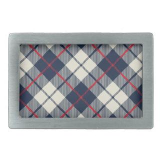 Navy Blue Plaid Pattern Belt Buckles