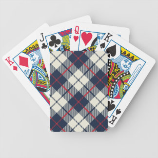 Navy Blue Plaid Pattern Bicycle Playing Cards