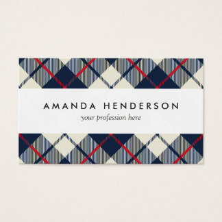 Navy Blue Plaid Pattern Business Card
