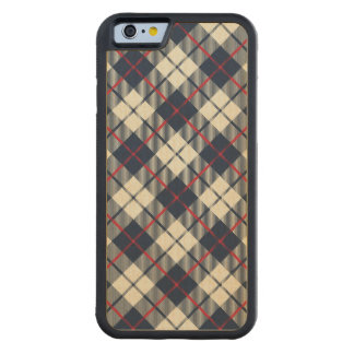 Navy Blue Plaid Pattern Carved Maple iPhone 6 Bumper Case
