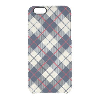 Navy Blue Plaid Pattern Clear iPhone 6/6S Case
