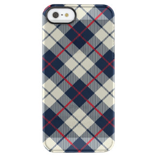 Navy Blue Plaid Pattern Clear iPhone SE/5/5s Case