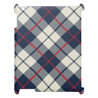 Navy Blue Plaid Pattern Cover For The iPad