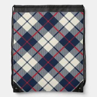 Navy Blue Plaid Pattern Drawstring Bag