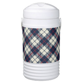Navy Blue Plaid Pattern Drinks Cooler