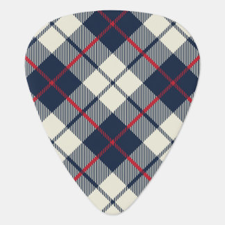 Navy Blue Plaid Pattern Guitar Pick