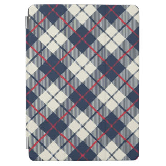 Navy Blue Plaid Pattern iPad Air Cover