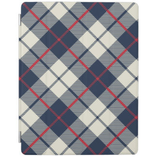 Navy Blue Plaid Pattern iPad Cover
