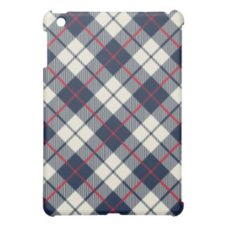 Navy Blue Plaid Pattern iPad Mini Case