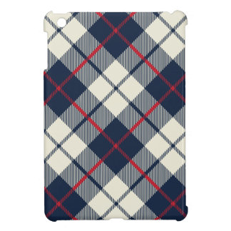 Navy Blue Plaid Pattern iPad Mini Cases
