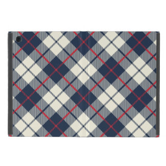 Navy Blue Plaid Pattern iPad Mini Cover