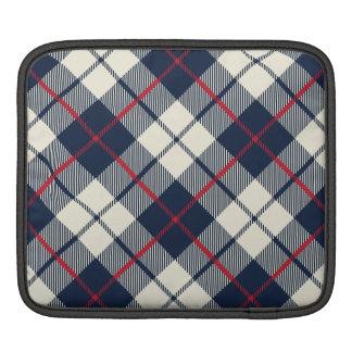 Navy Blue Plaid Pattern iPad Sleeve