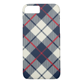 Navy Blue Plaid Pattern iPhone 8/7 Case