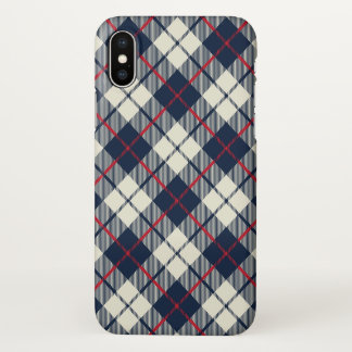 Navy Blue Plaid Pattern iPhone X Case