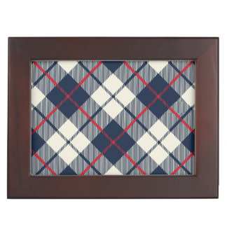 Navy Blue Plaid Pattern Keepsake Box