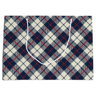 Navy Blue Plaid Pattern Large Gift Bag
