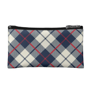 Navy Blue Plaid Pattern Makeup Bag