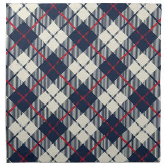 Navy Blue Plaid Pattern Napkin