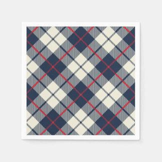 Navy Blue Plaid Pattern Paper Serviettes