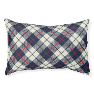 Navy Blue Plaid Pattern Pet Bed
