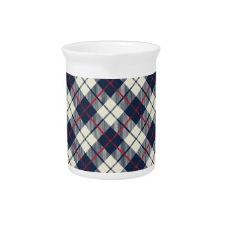 Navy Blue Plaid Pattern Pitcher