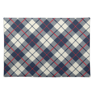 Navy Blue Plaid Pattern Placemat