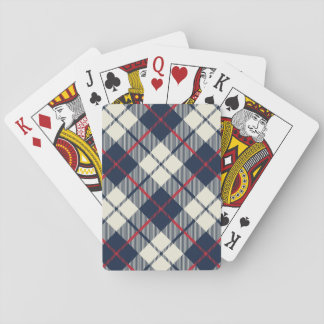 Navy Blue Plaid Pattern Playing Cards