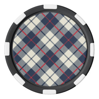 Navy Blue Plaid Pattern Poker Chips