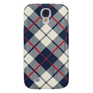 Navy Blue Plaid Pattern Samsung Galaxy S4 Covers