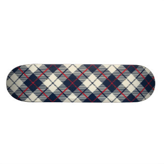 Navy Blue Plaid Pattern Skate Board Decks