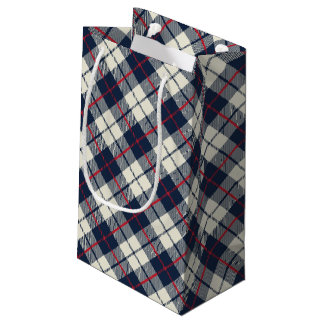 Navy Blue Plaid Pattern Small Gift Bag