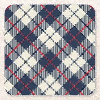 Navy Blue Plaid Pattern Square Paper Coaster
