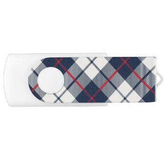 Navy Blue Plaid Pattern USB Flash Drive