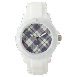 Navy Blue Plaid Pattern Watch