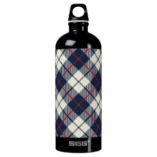 Navy Blue Plaid Pattern Water Bottle