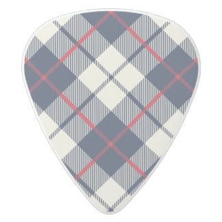 Navy Blue Plaid Pattern White Delrin Guitar Pick