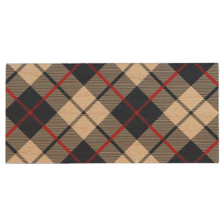 Navy Blue Plaid Pattern Wood USB Flash Drive