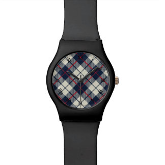 Navy Blue Plaid Pattern Wrist Watches