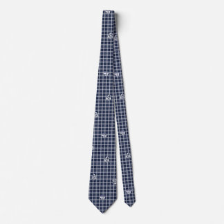 Navy Blue Plaid Paw Print Tie
