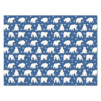 Navy Blue Polar Bears and Snowflakes Christmas Tissue Paper