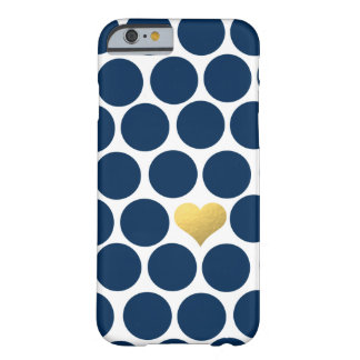 Navy Blue Polka Dot Gold Foil Heart iPhone Barely There iPhone 6 Case