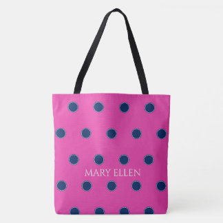 Navy Blue Polka Dots on Diva Pink Personalized Tote Bag