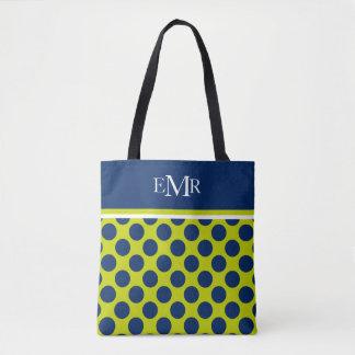 Navy Blue Polka Dots on Lime Green Monogram Tote Bag