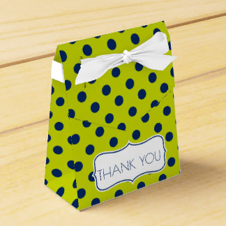 Navy Blue Polka Dots on Lime Green Personalized Favour Box