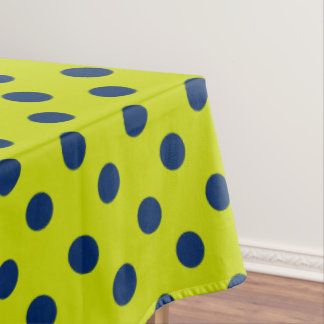 Navy Blue Polka Dots on Lime Green Tablecloth