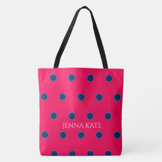 Navy Blue Polka Dots on Summer Pink Personalized Tote Bag